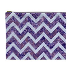 Chevron9 White Marble & Purple Marble Cosmetic Bag (xl) by trendistuff