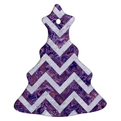 Chevron9 White Marble & Purple Marble Ornament (christmas Tree)  by trendistuff