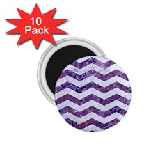 Chevron3 White Marble & Purple Marble 1 75  Magnets (10 Pack)  by trendistuff