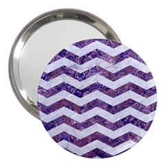 Chevron3 White Marble & Purple Marble 3  Handbag Mirrors by trendistuff