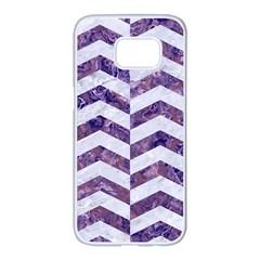 Chevron2 White Marble & Purple Marble Samsung Galaxy S7 Edge White Seamless Case