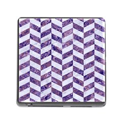 Chevron1 White Marble & Purple Marble Memory Card Reader (square) by trendistuff