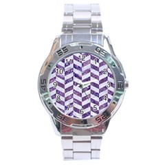 Chevron1 White Marble & Purple Marble Stainless Steel Analogue Watch by trendistuff