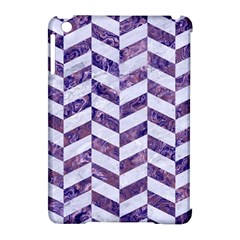 Chevron1 White Marble & Purple Marble Apple Ipad Mini Hardshell Case (compatible With Smart Cover) by trendistuff