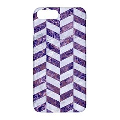 Chevron1 White Marble & Purple Marble Apple Iphone 8 Plus Hardshell Case