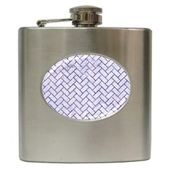 Brick2 White Marble & Purple Marble (r) Hip Flask (6 Oz)