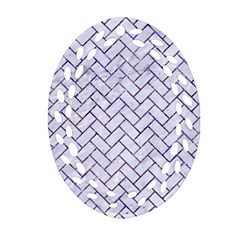Brick2 White Marble & Purple Marble (r) Ornament (oval Filigree) by trendistuff