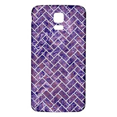 Brick2 White Marble & Purple Marble Samsung Galaxy S5 Back Case (white) by trendistuff