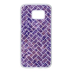 Brick2 White Marble & Purple Marble Samsung Galaxy S7 Edge White Seamless Case