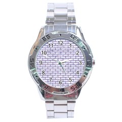 Brick1 White Marble & Purple Marble (r) Stainless Steel Analogue Watch by trendistuff