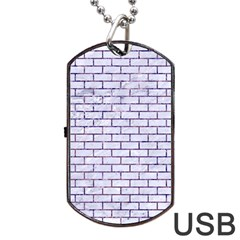 Brick1 White Marble & Purple Marble (r) Dog Tag Usb Flash (one Side) by trendistuff