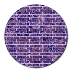Brick1 White Marble & Purple Marble Round Mousepads by trendistuff
