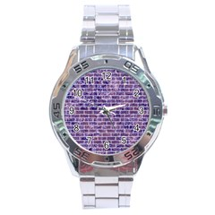Brick1 White Marble & Purple Marble Stainless Steel Analogue Watch by trendistuff