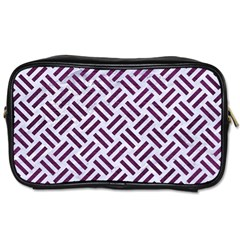 Woven2 White Marble & Purple Leather (r) Toiletries Bags 2 Side by trendistuff
