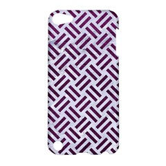 Woven2 White Marble & Purple Leather (r) Apple Ipod Touch 5 Hardshell Case by trendistuff
