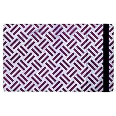Woven2 White Marble & Purple Leather (r) Apple Ipad Pro 9 7   Flip Case