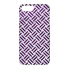 Woven2 White Marble & Purple Leather (r) Apple Iphone 7 Plus Hardshell Case