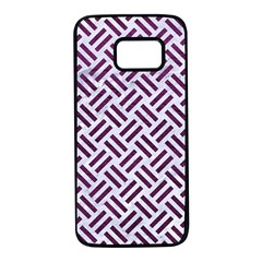 Woven2 White Marble & Purple Leather (r) Samsung Galaxy S7 Black Seamless Case by trendistuff