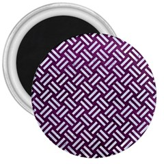 Woven2 White Marble & Purple Leather 3  Magnets by trendistuff