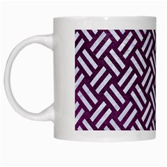 Woven2 White Marble & Purple Leather White Mugs by trendistuff