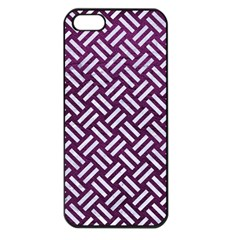 Woven2 White Marble & Purple Leather Apple Iphone 5 Seamless Case (black) by trendistuff
