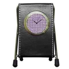 Woven1 White Marble & Purple Leather (r) Pen Holder Desk Clocks by trendistuff