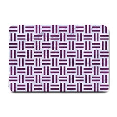 Woven1 White Marble & Purple Leather (r) Small Doormat  by trendistuff