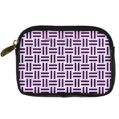 Woven1 White Marble & Purple Leather (r) Digital Camera Cases by trendistuff