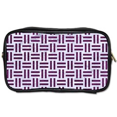 Woven1 White Marble & Purple Leather (r) Toiletries Bags 2 Side by trendistuff