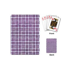 Woven1 White Marble & Purple Leather (r) Playing Cards (mini)  by trendistuff