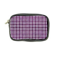 Woven1 White Marble & Purple Leather Coin Purse by trendistuff