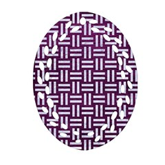 Woven1 White Marble & Purple Leather Oval Filigree Ornament (two Sides) by trendistuff