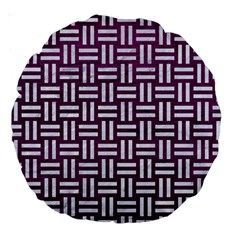 Woven1 White Marble & Purple Leather Large 18  Premium Round Cushions by trendistuff