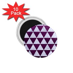 Triangle3 White Marble & Purple Leather 1 75  Magnets (10 Pack)  by trendistuff