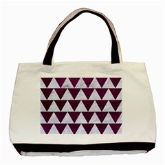 Triangle2 White Marble & Purple Leather Basic Tote Bag by trendistuff