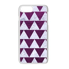 Triangle2 White Marble & Purple Leather Apple Iphone 8 Plus Seamless Case (white)