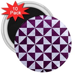 Triangle1 White Marble & Purple Leather 3  Magnets (10 Pack)  by trendistuff
