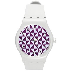 Triangle1 White Marble & Purple Leather Round Plastic Sport Watch (m) by trendistuff