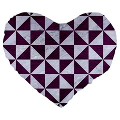 Triangle1 White Marble & Purple Leather Large 19  Premium Heart Shape Cushions by trendistuff