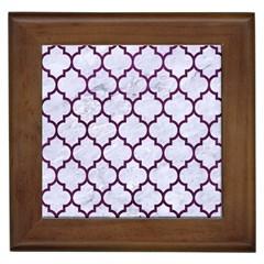 Tile1 White Marble & Purple Leather (r) Framed Tiles by trendistuff