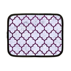 Tile1 White Marble & Purple Leather (r) Netbook Case (small)  by trendistuff