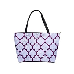 Tile1 White Marble & Purple Leather (r) Shoulder Handbags by trendistuff