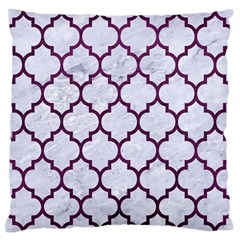 Tile1 White Marble & Purple Leather (r) Large Flano Cushion Case (two Sides) by trendistuff