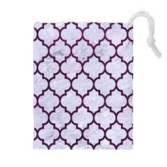 Tile1 White Marble & Purple Leather (r) Drawstring Pouches (extra Large) by trendistuff