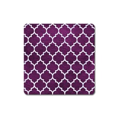 Tile1 White Marble & Purple Leather Square Magnet by trendistuff
