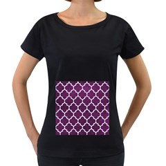 Tile1 White Marble & Purple Leather Women s Loose Fit T Shirt (black) by trendistuff