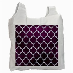 Tile1 White Marble & Purple Leather Recycle Bag (one Side) by trendistuff
