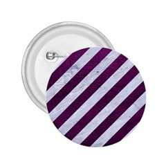 Stripes3 White Marble & Purple Leather (r) 2 25  Buttons by trendistuff