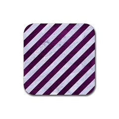 Stripes3 White Marble & Purple Leather (r) Rubber Square Coaster (4 Pack)  by trendistuff