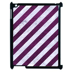 Stripes3 White Marble & Purple Leather (r) Apple Ipad 2 Case (black) by trendistuff